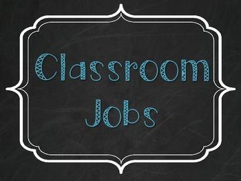 Classroom Jobs - Burlap, Chalkboard, and Teal