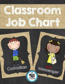 Classroom Jobs {Burlap and Chalkboard}