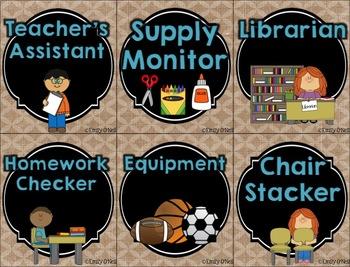 Classroom Jobs (Butterfly, Blue, Black & Burlap Theme)