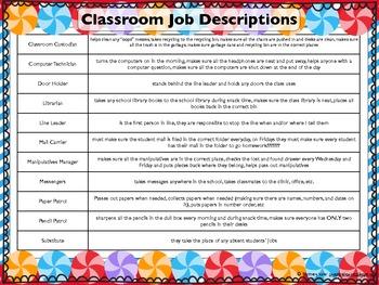 Classroom Jobs Candy Theme