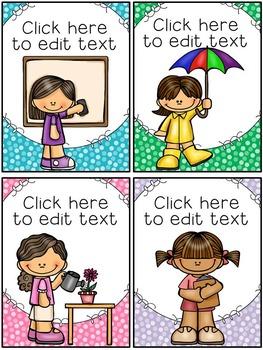 Classroom Jobs Cards ~ Polka Dots