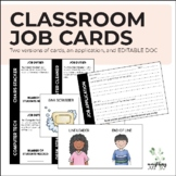 Classroom Jobs Cards and Application | Editable