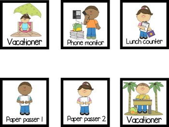 Classroom Jobs Cards with black border