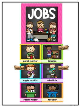 Classroom Job Chart {Chalkboard and Chevron Decor Theme}