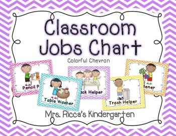 Classroom jobs chart bright chevron by mrs ricca s kindergarten