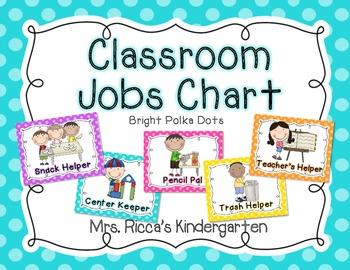classroom jobs chart  bright polka dots  by mrs ricca s Preschool Classroom Helpers Preschool Classroom Helpers