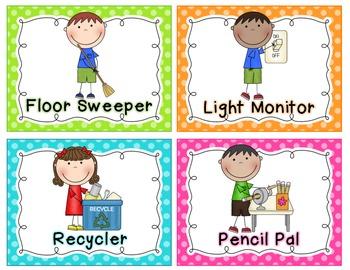Classroom Jobs Chart Bright Polka Dots By Mrs Ricca S