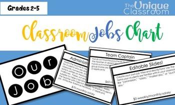 Classroom Economy Jobs Chart Minimalist Black and White {EDITABLE}