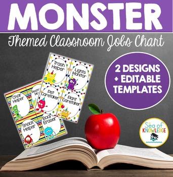 Classroom Jobs Chart Monster Theme