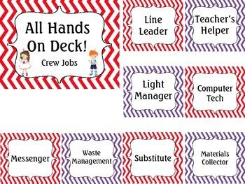 Classroom Jobs Chart: Nautical Theme