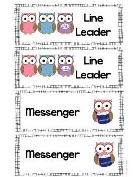 Classroom Jobs OWLS Theme