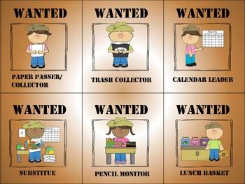Classroom Jobs Chart WESTERN