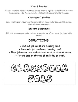 Classroom Jobs Chart for Display
