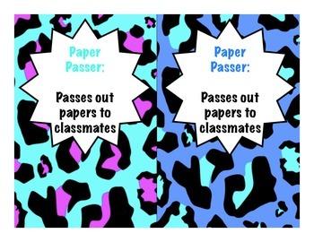 Classroom Jobs - Cheetah Print