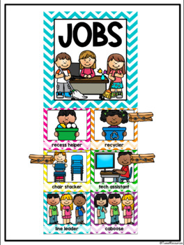 Classroom Jobs Clip Chart in a Chevron Classroom Decor Theme with EDITABLE cards