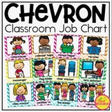 Classroom Jobs in Chevron Classroom Decor with EDITABLE cards Back To School