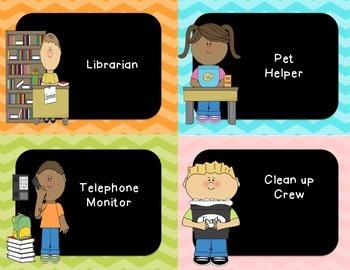 Classroom Jobs (Chevron & Chalkboard)