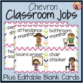 Classroom Helpers - Chevron: 44 Job Cards plus editable cards