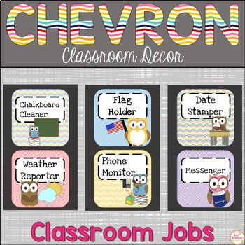 Chevron Classroom Jobs Editable With Owls