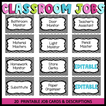Classroom Jobs! Free Printable Job Cards