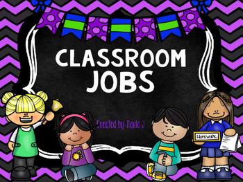 Classroom Jobs Chevron Themed