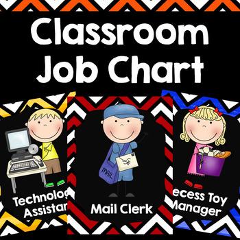 Classroom Jobs {Chevron Watercolor}