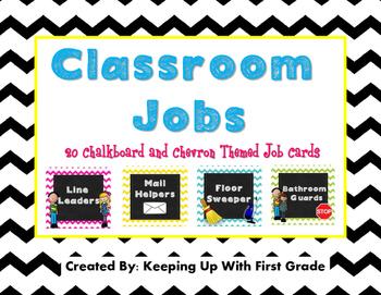 Classroom Jobs- Chevron and Chalkboard Style