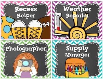 Classroom Jobs Chevron and EDITABLE Job Cards