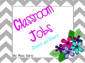 Classroom Jobs- Chevron and Flowers