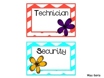 Classroom Jobs- Chevron and Flowers