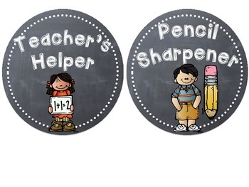 Classroom Jobs - Circle Chalkboards with Melonheadz Clip Art