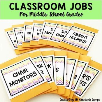 Classroom Jobs & Class Schedule Cards for Middle School (E