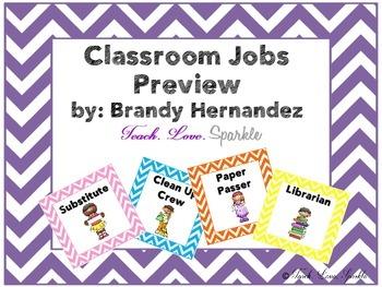 Classroom Jobs/ Classroom Helpers Chevron Border
