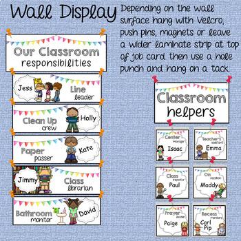 Classroom Jobs Crisp White EDITABLE {Clip Chart or Wall Display}
