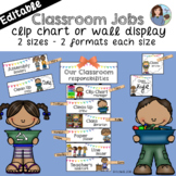 Classroom Jobs Crisp White EDITABLE {Clip Chart or Wall Display}