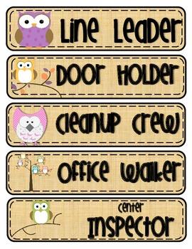 Classroom Jobs Clip Chart Owl Themed