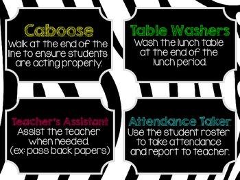 Classroom Jobs Clip Chart - Set of 12! - Zebra Print and Solid Black