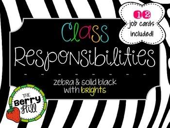 Classroom Jobs Clip Chart - Set of 12! - Zebra Print and S