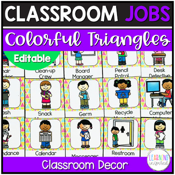 Classroom Jobs Colorful Triangles Edition