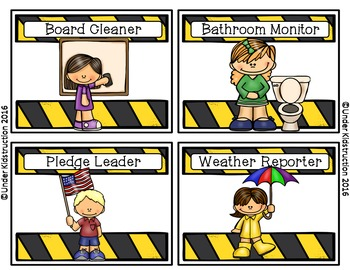 Classroom Jobs-Construction Theme