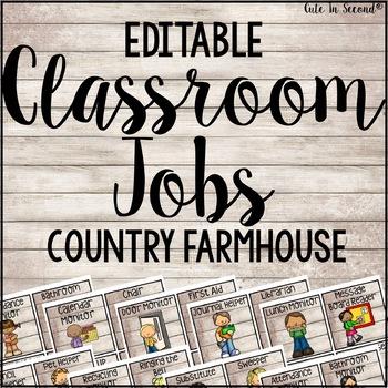 Classroom Jobs Country Farmhouse Theme