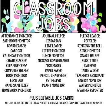 Classroom Jobs Black and White Striped Floral Watercolor