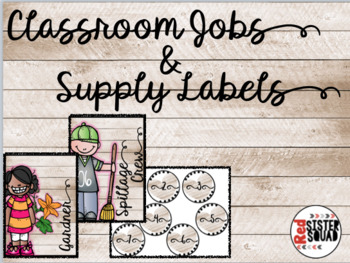 Classroom Jobs Decor and Supply labels Wooden Theme