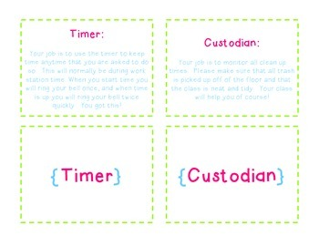 Classroom Jobs Description Cards