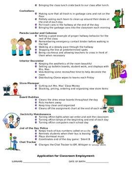 Classroom Jobs:  Description and Application