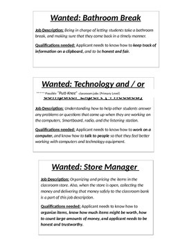 Classroom Jobs (Descriptions)