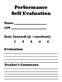 Classroom Jobs, Descriptions, Assignments, and Evaluation