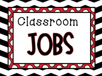 Classroom Jobs Display -Black and Red