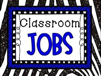 Classroom Jobs Display- Black and Blue