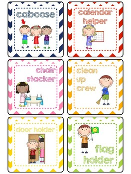 Rainbow Chevron Classroom Jobs Display